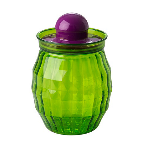 Rice - Plastic green faceted kitchen jar