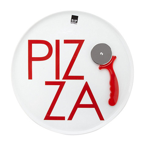 Salt & Pepper - Ceramic 38cm pizza plate with cutter