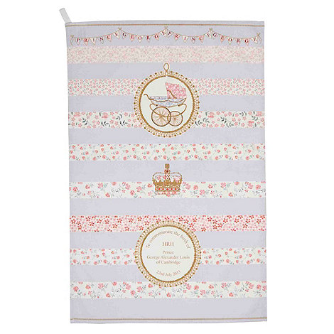 Queens - Blue floral +Royal Baby+ tea towel