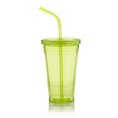 Debenhams - Plastic lime green lidded take away cup