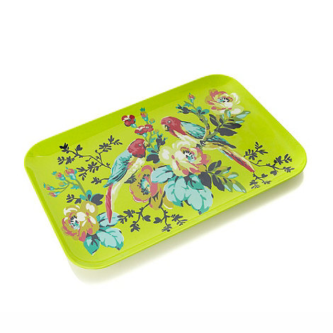 Butterfly Home by Matthew Williamson - Melamine lime green parrot patterned tray