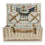White wicker picnic hamper