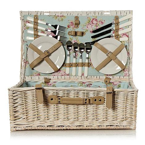 Debenhams - White wicker picnic hamper