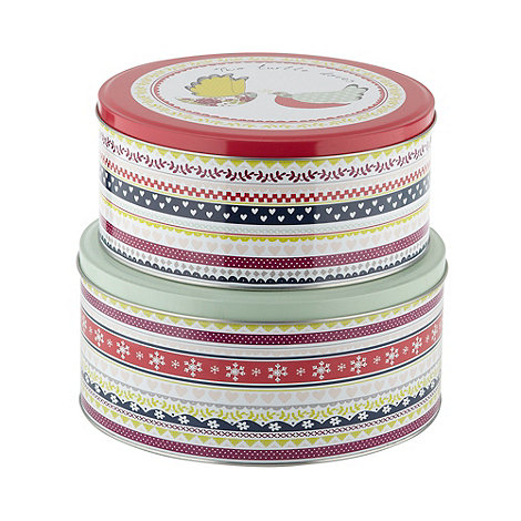 At home with Ashley Thomas - Set of two red festive cake tins