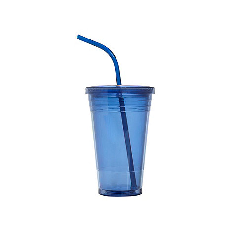 Debenhams - Blue acrylic large takeaway cup with straw