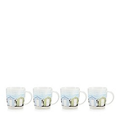 Debenhams - Set of four beach hut print mugs