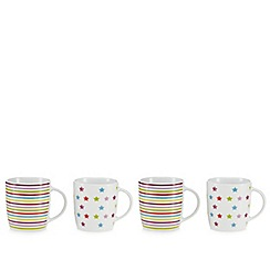 Debenhams - Set of four white stars and stripes print mugs