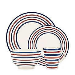 Debenhams - Striped 16 piece stoneware dinner set