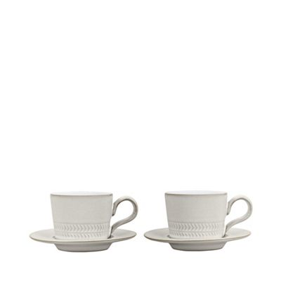 Denby Set of 2 Natural Canvas espresso cups and saucers