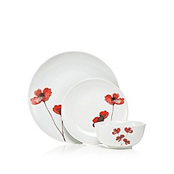 Home Collection - Set of 12 red poppy print dinner set