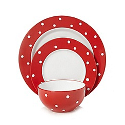 Home Collection - Red polka dot print 12 piece stoneware set