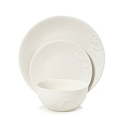 Home Collection - White heart embossed 12 piece dinnerware set