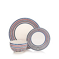 Home Collection - Set of 12 navy striped print dinner set