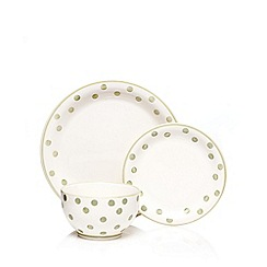 At home with Ashley Thomas - Set of 12 green spot printed dinner set