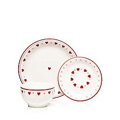 At home with Ashley Thomas - Red heart print 12 piece dinnerware set
