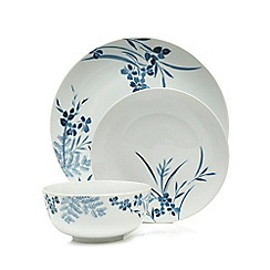 Home Collection - White porcelain floral 12 piece dinner set
