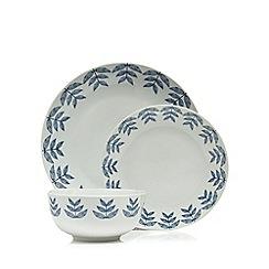 Home Collection - Blue 12 piece leaf print dinner set