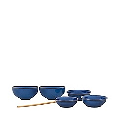 Denby - Pack of 7 'Imperial Blue' Asian noodle and rice bowls