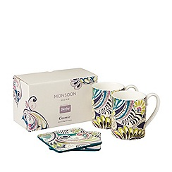 Denby - White 'Monsoon Cosmic' set of 2 mugs and coasters