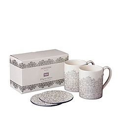 Denby - Monsoon Filigree set of 2 mugs and coasters
