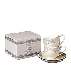 Denby - Pack of 2 'Monsoon Filigree' tea cups and saucers set
