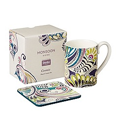 Denby - White 'Monsoon Cosmic' mug and coaster set