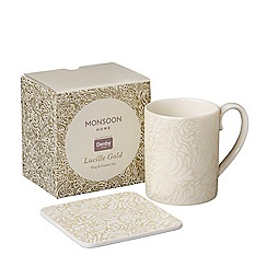 Denby - White 'Monsoon Lucille Gold' mug and coaster set