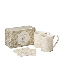Denby - White 'Monsoon Lucille Gold' set of 2 mugs and coasters