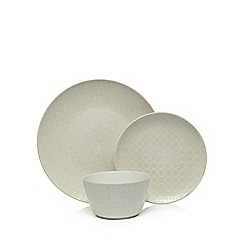 Home Collection - Set of 12 cream debossed dinner set