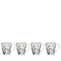 At home with Ashley Thomas - Pack of four multi-coloured bloom floral print mugs
