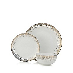 Home Collection - Metallic twelve piece gold spot dinner set