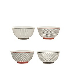 Home Collection - Set of four multi-coloured 'Stockholm' cereal bowls