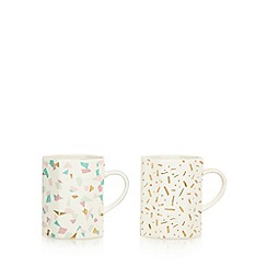 Home Collection - Set of two multi-coloured 'Cosmo' mugs