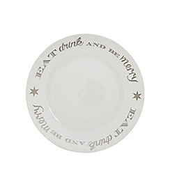 Home Collection - White 'Eat Drink And Be Merry' dinner plate