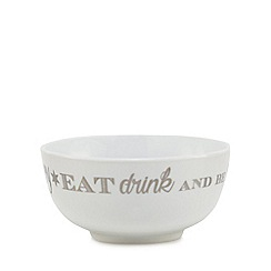 Home Collection - White 'Eat Drink And Be Happy' cereal bowl
