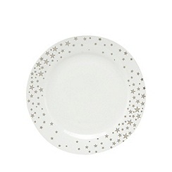 Home Collection - White star print dinner plate