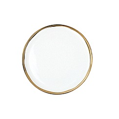 Canvas Home - White metallic glazed 'Dauville' dinner plate