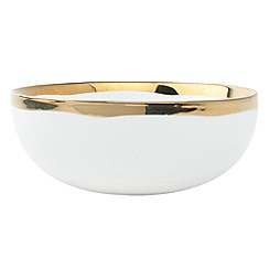 Canvas Home - White metallic glazed 'Dauville' cereal bowl