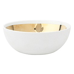 Canvas Home - Extra large white and gold metallic glazing 'Dauville' bowl