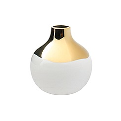 Canvas Home - White and gold metallic glazing 'Dauville' vase
