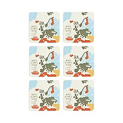 Ben de Lisi Home - Pack of 6 multi-coloured map print coasters