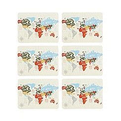 Ben de Lisi Home - Pack of 6 multi-coloured map print placemats