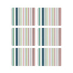 Ben de Lisi Home - Set of six multi-coloured striped print placemats