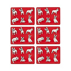 Ben de Lisi Home - Set of six red French Bulldog print placemats