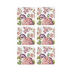 At home with Ashley Thomas - Set of six multi-coloured floral coasters