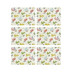 At home with Ashley Thomas - Set of six multi-coloured bunny print placemats