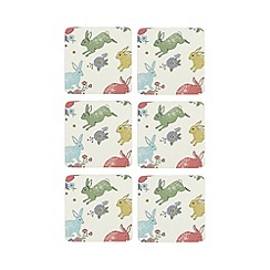 At home with Ashley Thomas - Pack of 6 multi-coloured bunny print coasters