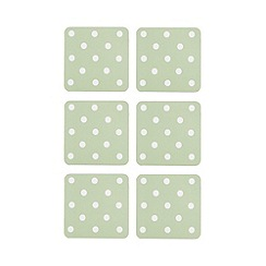 At home with Ashley Thomas - Pack of 6 green polka dot print coasters