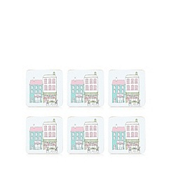 At home with Ashley Thomas - Pack of 6 pale blue street print coasters