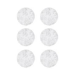 Home Collection - Pack of 6 white floral print coasters